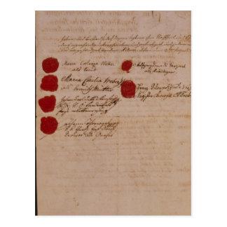 Carte Postale Certificat de mariage de Wolfgang, de Mozart et de