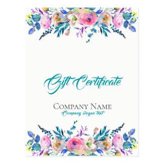 Carte Postale Certificat-prime coloré de bouquet de fleurs