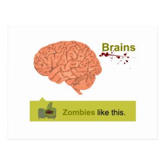 Carte Postale Cerveaux - les zombis aiment ceci