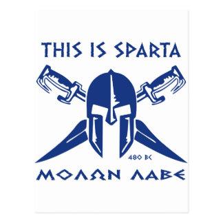 Carte Postale C'est Sparte - Molon Lave - bleu