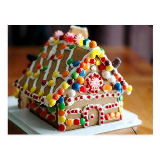 Carte Postale Chambre de pain d'épice colorée de Noël
