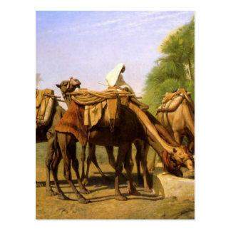 Carte Postale Chameaux à la fontaine par Jean-Léon Gerome