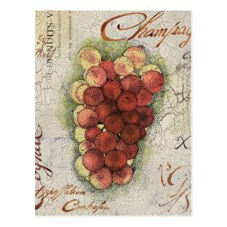 Carte Postale Champagne et raisins de cognac