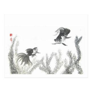 Carte postale chanceuse chinoise de poisson rouge