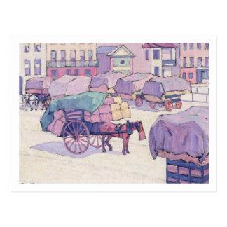 Carte Postale Chariots de foin, marché de Cumberland (huile sur