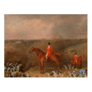 Carte Postale Chasse avec les chiens et la peinture à l'huile