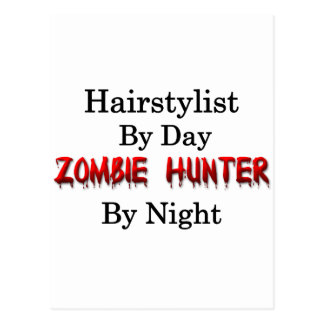 Carte Postale Chasseur de styliste en coiffure/zombi