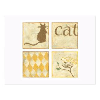Carte Postale Chat de Brown et oiseau jaune par Chariklia Zarris