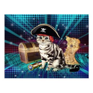 Carte Postale chat de pirate