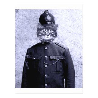 Carte Postale Chat de police