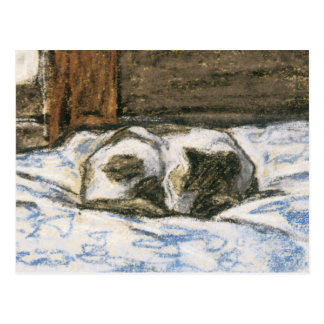 Carte Postale Chat dormant sur un lit par Claude Monet