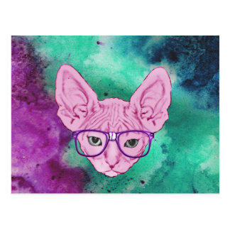 Carte Postale Chat Geeky drôle sur l'aquarelle Backgroun