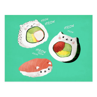 Carte Postale Chat mignon de sushi