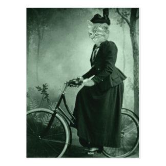 Carte Postale Chat sur un vélo