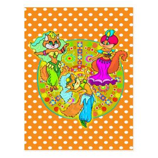 Carte Postale Chats de danse du ventre