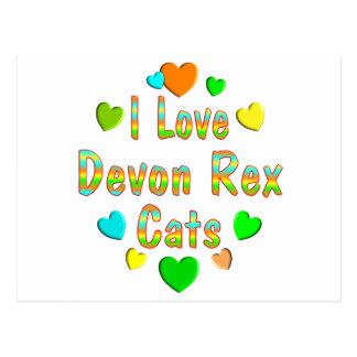 Carte Postale Chats de Devon Rex d'amour