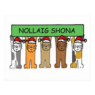 Carte Postale Chats irlandais de Noël heureux