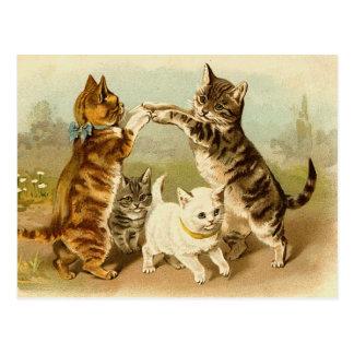 Carte Postale Chats jouant l'illustration vintage