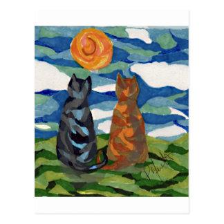Carte Postale Chats oranges gris d'art de chat