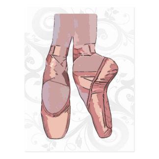 Carte Postale Chaussures d'orteil de pantoufles de ballet