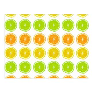 Carte Postale Chaux d'agrume, orange, et tranches de point de