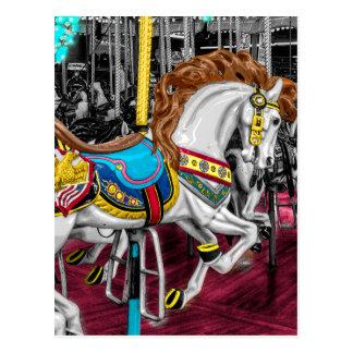 Carte Postale Cheval coloré de carrousel au carnaval