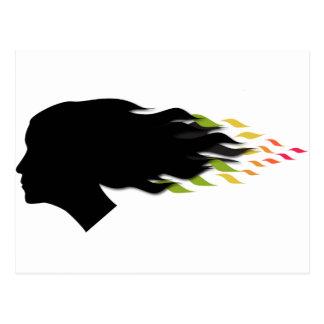 Carte Postale Cheveux frais de feuille de couleur