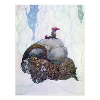 "Carte Postale Chèvre scandinave vintage de Noël de ""Julebukking"""