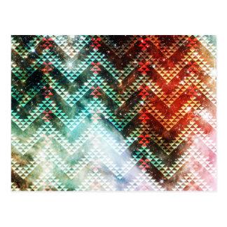 Carte Postale Chevrons tribaux de galaxie rouges et verts