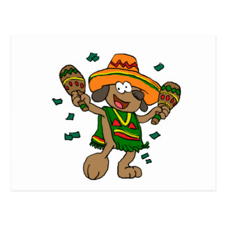 Carte Postale Chiens mexicains avec des maracas