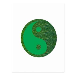 Carte Postale Chinois de l'équilibre YIN YANG de vert du