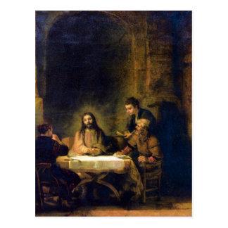 Carte Postale Christus dans Emmaus par Rembrandt