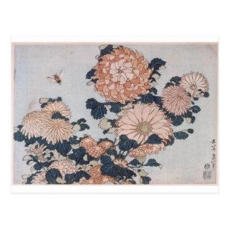 Carte Postale Chrysanthèmes et taon par Katsushika Hokusai