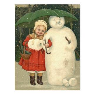 Carte Postale Chutes de neige de parapluie de fille de bonhomme