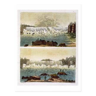 Carte Postale Chutes du Niagara, 1818 (gravure de couleur)