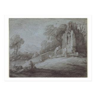 Carte Postale Cimetière avec la figure contemplant la pierre