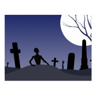 Carte Postale Cimetière Halloween de zombi