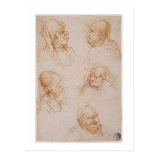 Carte Postale Cinq études des visages grotesques (craie rouge
