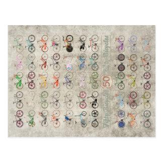 Carte Postale Cinquante bicyclettes