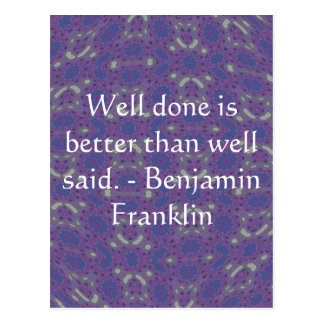 Carte Postale Citation de Benjamin Franklin avec la conception
