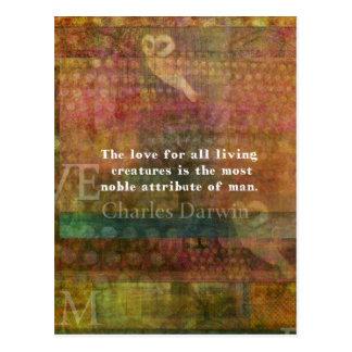 Carte Postale Citation de Charles Darwin au sujet des animaux
