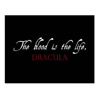 Carte Postale Citation de Dracula : Le sang est la vie