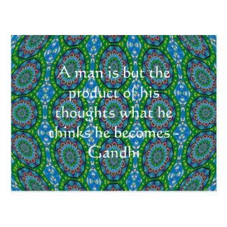 Carte Postale Citation de sagesse de Gandhi avec la conception