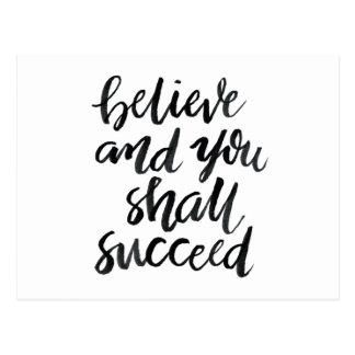 Carte Postale Citations inspirées : Croyez et vous réussira