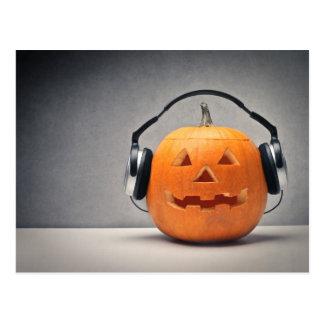 Carte Postale Citrouille de Halloween avec des écouteurs pour la