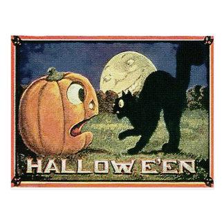 Carte Postale Citrouille vintage et chat de Halloween dans la