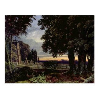 Carte Postale Clair de lune, pensées dans une cimetière
