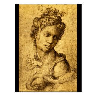Carte Postale Cleopatra', Michelangelo_Studies des maîtres