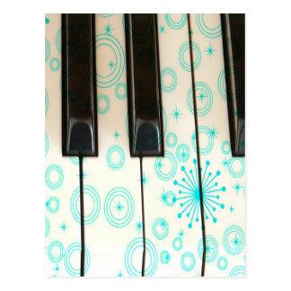 Carte Postale Clés de piano avec des cercles d'Aqua