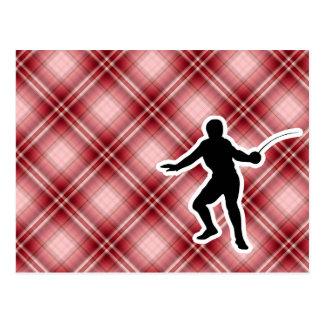 Carte Postale Clôture rouge de plaid